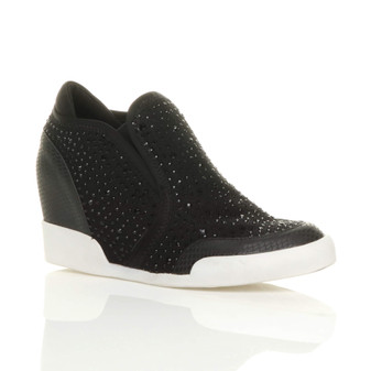 Front right side view of Black High Heel Wedge Diamante Trainers Shoe Boots