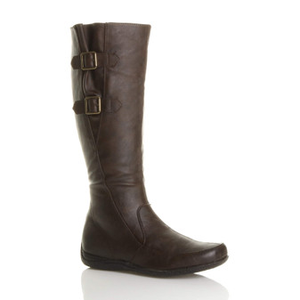 Front right side view of Brown PU Low Heel Concealed Wedge Calf Boots