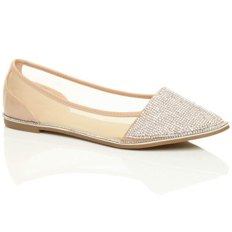 Front right side view of Beige Patent Flat Diamante Mesh Pointed Toe Ballerina Dolly Shoes