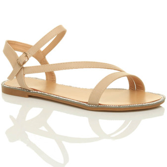 Front right side view of Beige PU Flat Strappy Diamante Trim Sandals