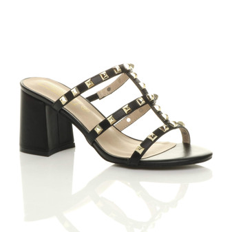 Front right side view of Black PU Mid Block Flared Heel Punk Rock Studded T-Bar Gladiator Strappy Sandals