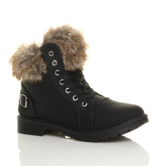 Front right side view of Black PU Flat Low Heel Faux Fur Lined Biker Ankle Boots