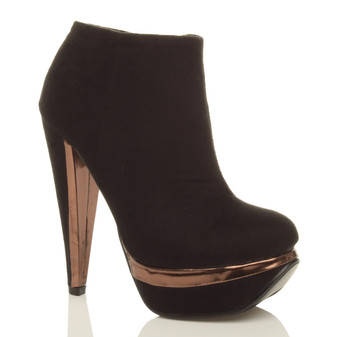 Front right side view of Black / Bronze Suede High Heel Platform Ankle Boots