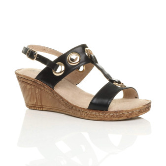 Front right side view of Black PU Mid Wedge Heel T-Bar Slingback Comfort Sandals