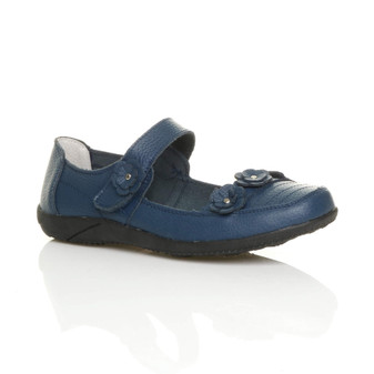 Front right side view of Navy Flat Comfort Flower Mary Jane Shoes