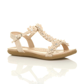 Front right side view of Beige PU Flat Comfort Flower T-Bar Sandals
