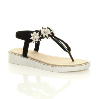 Front right side view of Black Low Wedge Heel Comfort Flatform Diamante Pearl T-Bar Toe Post Slingback Sandals