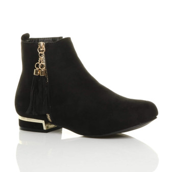 Front right side view of Black Suede Low Heel Gold Zip Tassel Chelsea Ankle Boots