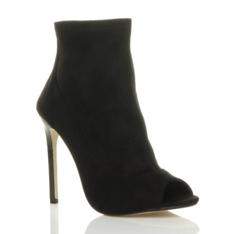Front right side view of Black Suede High Heel Peep Toe Ankle Boots