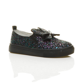 Front right side view of Black Glitter Rabbit Bunny Ears Bow Plimsolls Trainers