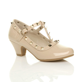 Front right side view of Beige Patent Heeled Studded T-Bar Court Shoes