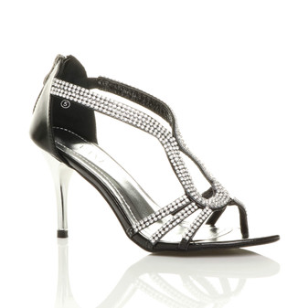 Front right side view of Black PU High Heel Strappy Diamante Sandals