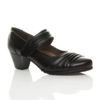 Front right side view of Black Mid Heel Ruched Comfort Mary Jane Court Shoes