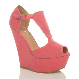 Front right side view of Coral Suede High Heel Wedge T-Bar Buckle Platform Sandals