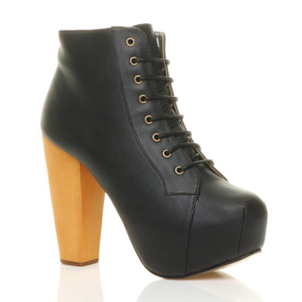 Front right side view of Black PU High Wooden Heel Platform Ankle Boots