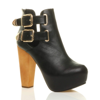 Front right side view of Black PU High Heel Cut Out Gold Buckle Platform Ankle Boots