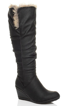 Front right side view of Black PU Mid Heel Wedge Fold Over Fur Cuff Calf Knee Boots