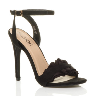 Front right side view of Black Suede High Heel Ankle Strap Ruffle Sandals