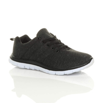 Front right side view of Black Flat Lace Up Comfy Space Dye Trainers