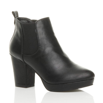 Front right side view of Black PU High Block Heel Gusset Chelsea Ankle Boots