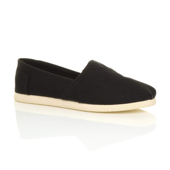 Front right side view of Black Flat Slip On Espadrilles Plimsolls