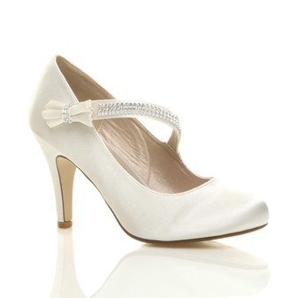 Front right side view of Ivory Satin High Heel Mary Jane Diamante Bow Court Shoes