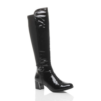 Front right side view of Black Patent Mid Heel Stretch Layered Calf Boots
