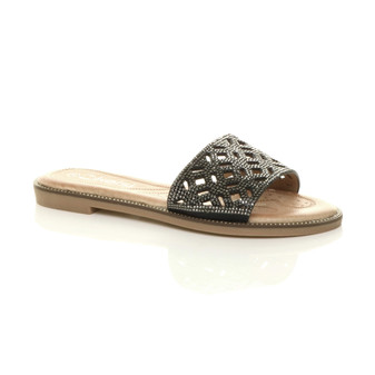 Front right side view of Black PU Flat Diamante Cut Out Flip Flop Sandals