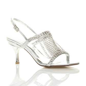 Front right side view of Silver PU High Heel Slingback Draped Diamante Sandals