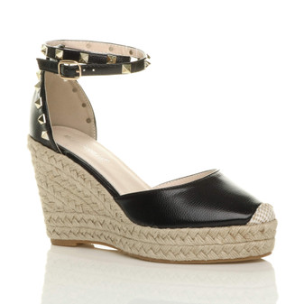 Front right side view of Black PU High Wedge Heel Studded Ankle Strap Platform Sandals Espadrilles