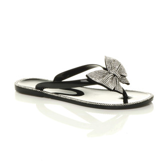 Front right side view of Black Flat Jelly Diamante Bow Flip Flops Toe Post Sandals