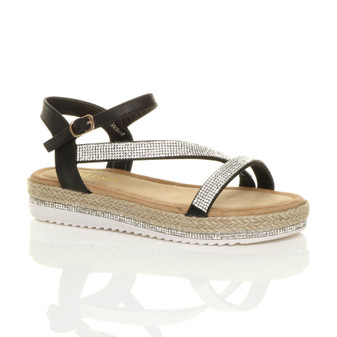 Front right side view of Black PU Low Wedge Platform Diamante Flatform Espadrilles Sandals