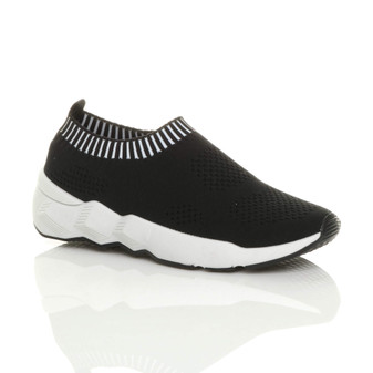 Front right side view of Black Chunky Slip On Knit Sock Trainers Plimsolls