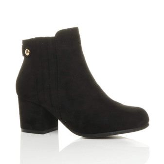 Front right side view of Black Suede Mid Block Heel Chelsea Ankle Boots