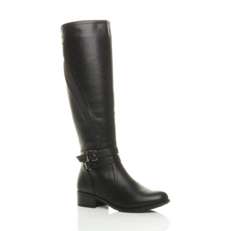 Front right side view of Black PU Low Heel Strap Stretch Elastic Gusset Knee High Riding Boots