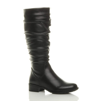 Front right side view of Black PU Low Heel Ruched Slouch Calf Riding Boots