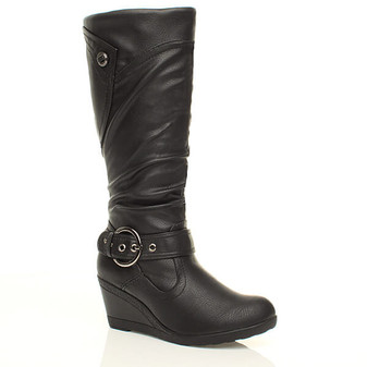 Front right side view of Black PU Mid Heel Wedge Calf Boots