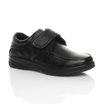 Front right side view of Black PU Memory Foam Insole Comfort Cushioned Touch Close Smart Work Shoes
