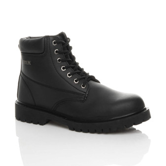"Front right side view of Black Steel Toe Cap Midsole Plated Safety Work 6"" Ankle Boots EN345-SBP"