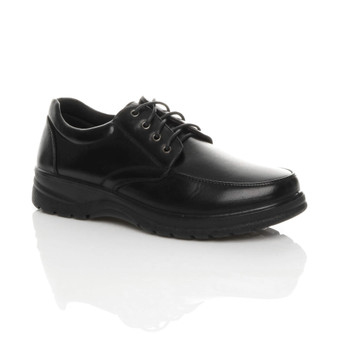 Front right side view of Black PU Memory Foam Insole Comfort Cushioned Lace Up Smart Work Shoes
