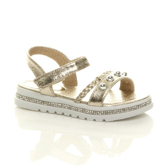 Front right side view of Gold Childrens Flatform Diamante Strappy Studded Slingback Sandals