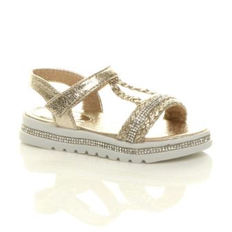 Front right side view of Gold Childrens Flatform Diamante Strappy T-Bar Slingback Sandals