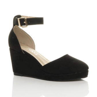 Front right side view of Black Suede Mid Wedge Heel Ankle Strap Buckle Platform Sandals