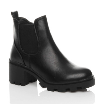 Front right side view of Black PU Mid Block Heel Chunky Elastic Gusset Chelsea Ankle Boots
