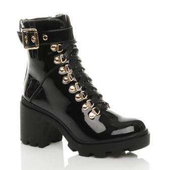Front right side view of Black Patent Mid High Block Heel Military Combat Ankle Boots
