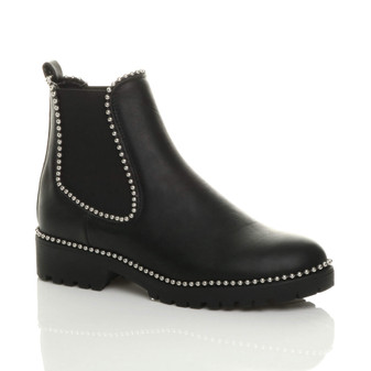 Front right side view of Black PU Low Block Heel Chunky Studded Chelsea Ankle Boots