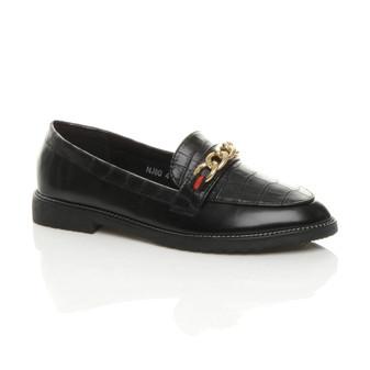 Front right side view of Black PU Flat Low Heel Smart Casual Loafers Work Shoes