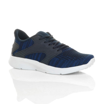 Front right side view of Navy Mens Memory Foam Lace Up Mesh Trainers Sneakers