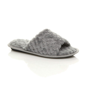 Front right side view of Grey Fur Memory Foam Fluffy Quilted Fur Lined Grip Sole Peep Toe Mule Slippers Sandals