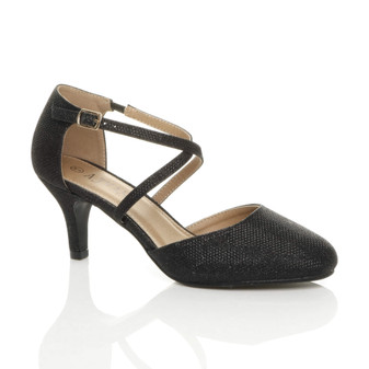 Front right side view of Black Mesh Glitter Mid High Block Heel Strappy Crossover Open Side Shoes Sandals